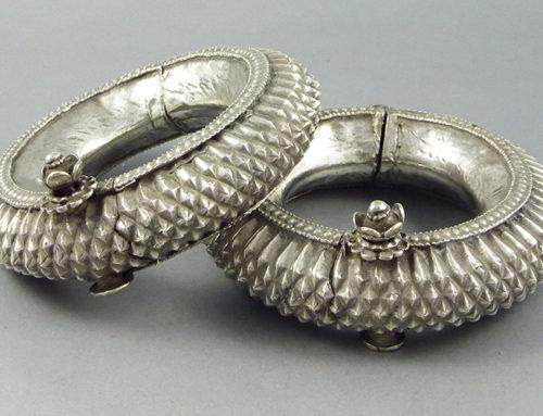 Pair of Rajasthan silver bracelets, India