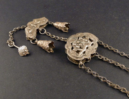 Old Chinese silver chatelaine pendant
