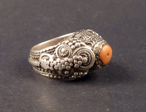 Coral and silver Yemen ring