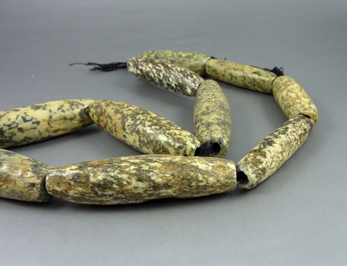Ancient long Gneiss Granite stone beads, Mali