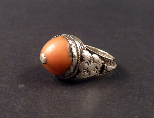 Old coral and silver ring, Yemen