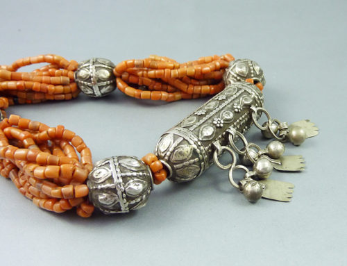 Yemen coral and silver necklace