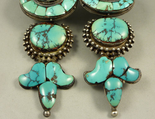 "Silver and turquoise Tibetan earrings ""Akor"""