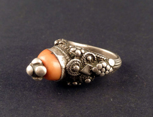 Coral and silver ring, Yemen